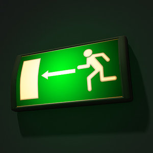 emergency exit sign 3d 3ds