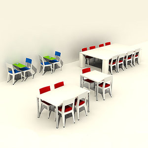 3d model durable chairs tables