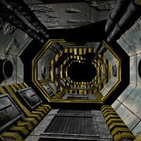 3d science fiction corridor passage