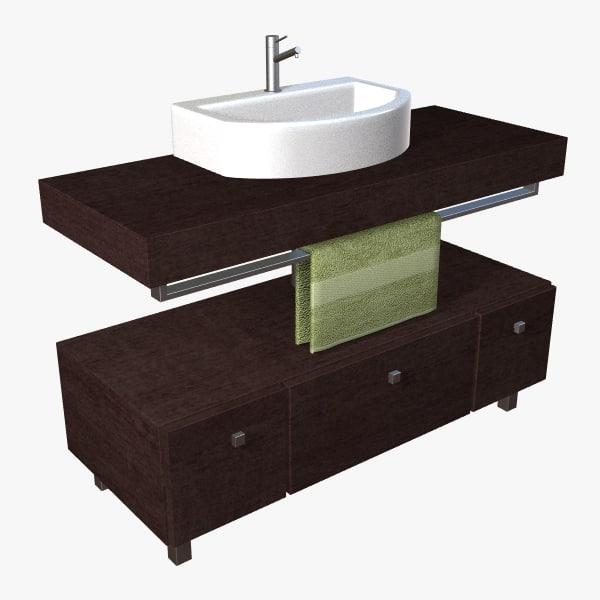 3dsmax contemporary bathroom vanity