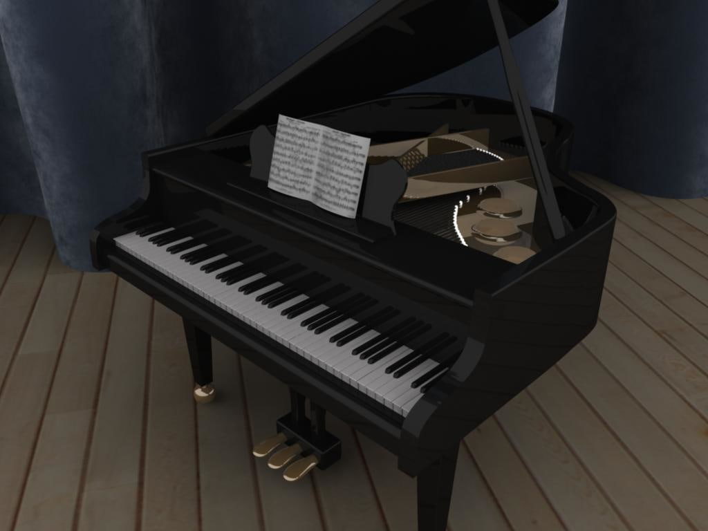 baby grand piano 3d model