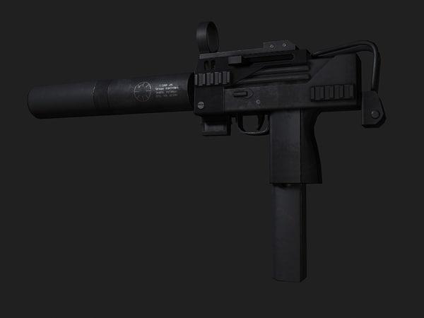 3d max sub machine gun