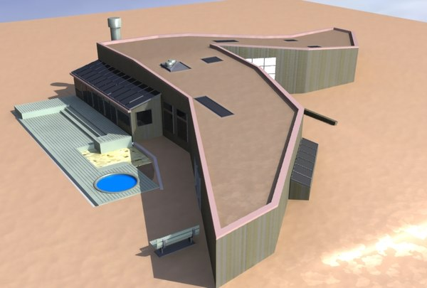 3d model modern sea ranch house