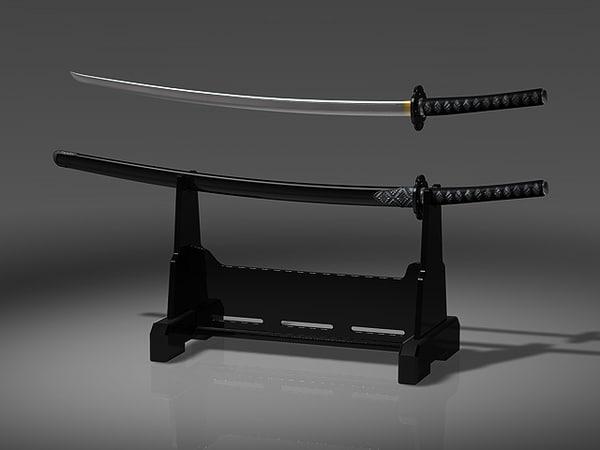3d sword japanese japan model