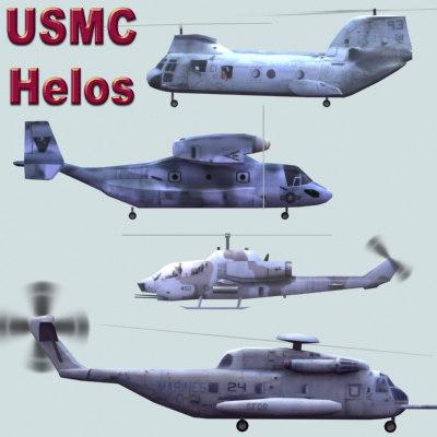 3d usmc helicopter games model