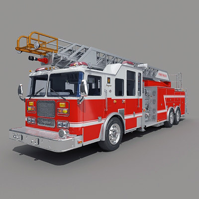 3d model aerial ladders truck engine