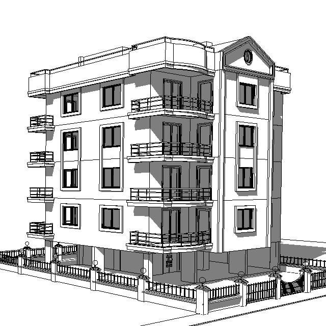site apartment building house 3d model