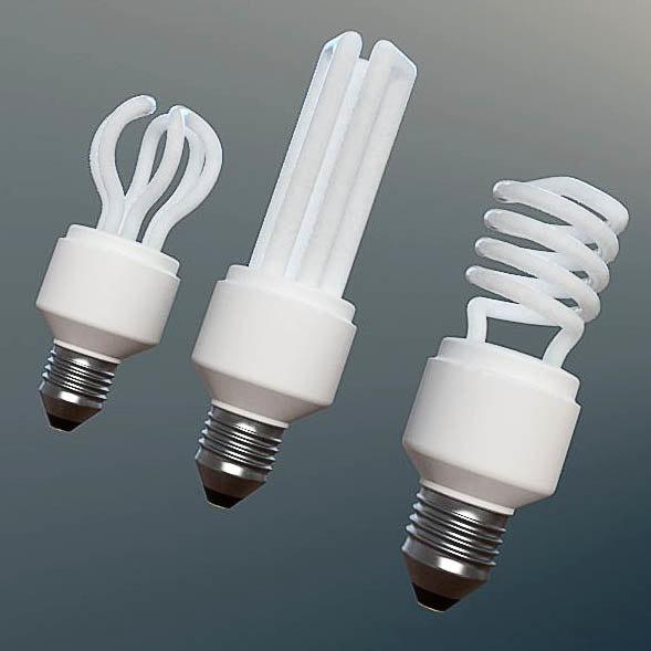 Fluorescent Light Goes On And Off: 3d Light Set Fluorescent Bulbs