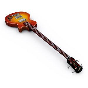 3d model epiphone les paul bass guitar