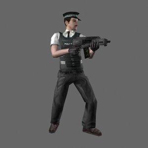 3d model armed policeman police
