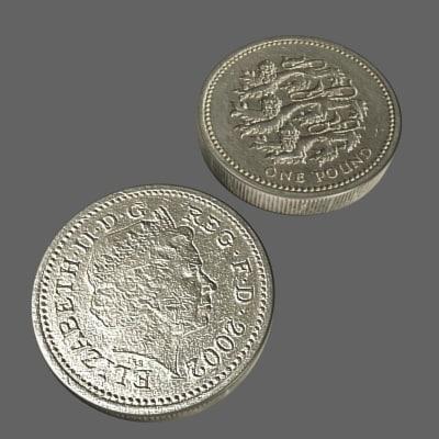 british pound coin 3d model