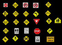 crossing traffic sign street 3d model