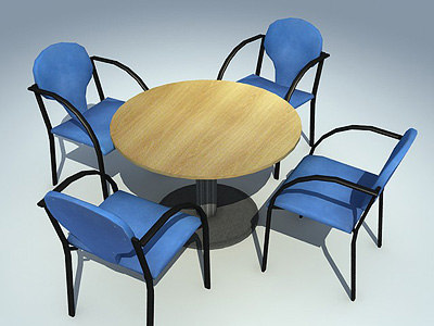 circular table chairs 3d model