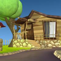 cartoon farm 3d model