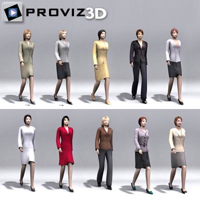 3d walking business women