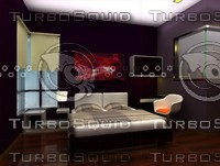 bedroom living dining 3d model