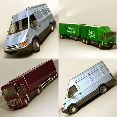 3ds max european vehicles truck trailer