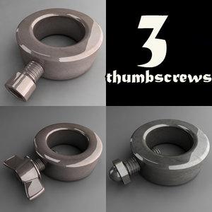 3d model thumbscrew screw thumb
