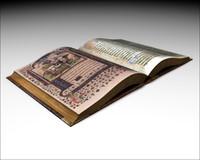 3d open medieval manuscript book