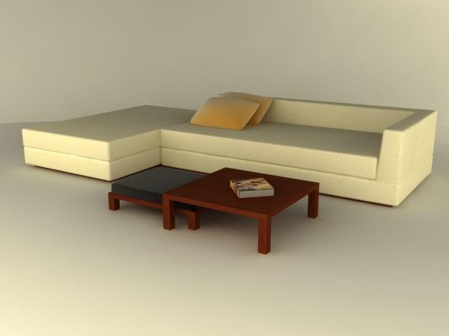 3d model modern sofa table