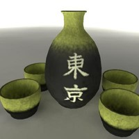 japanese sake set pot 3d ma