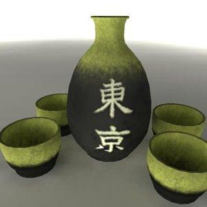 japanese sake set pot 3d ma