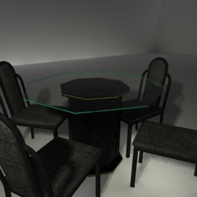 dining room table glass 3d model