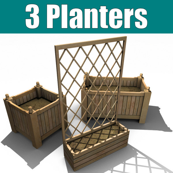 3ds 3 wooden planters wood