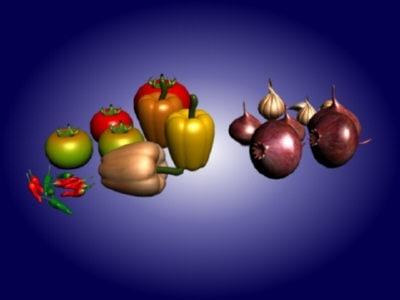 3d spice vegetables model