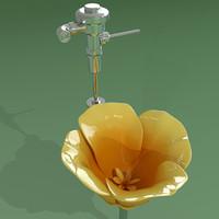 3d model urinal california poppy