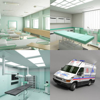 3d model ambulance surgery room hospital