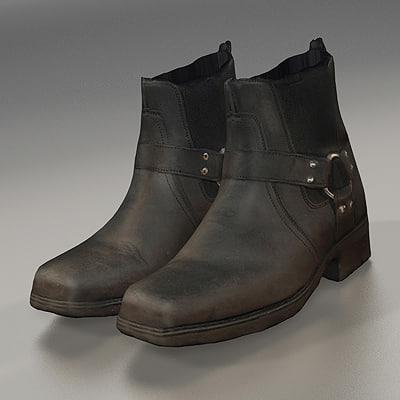 biker boots 3d model