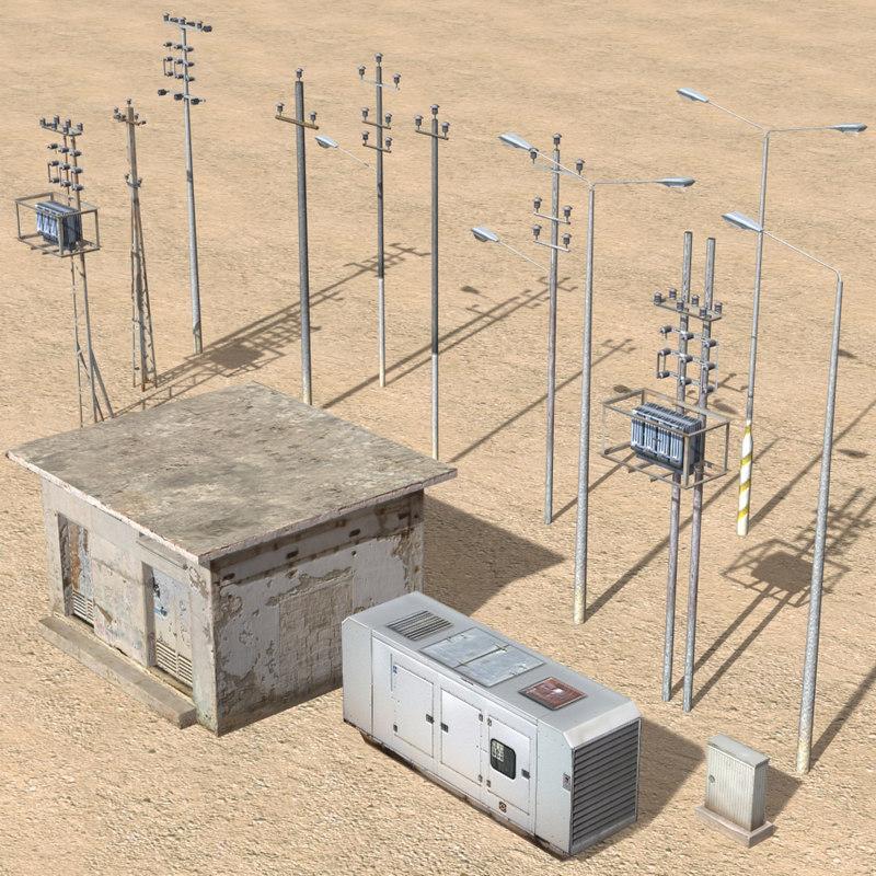 3d arab city electric elements model