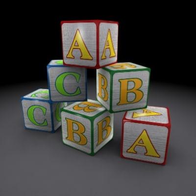 3ds max abc blocks toys