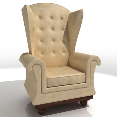 wingback chair classic 3d model