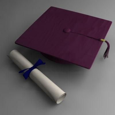 graduation cap diploma 3d model