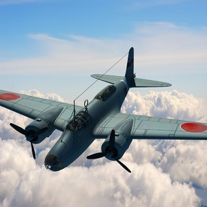 ki-21 bomber aircraft 3d model