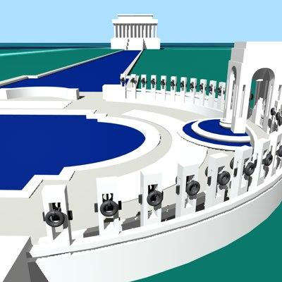 national memorials washington dc 3d c4d