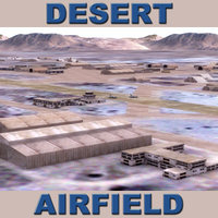 3d model of desert airfield terrain