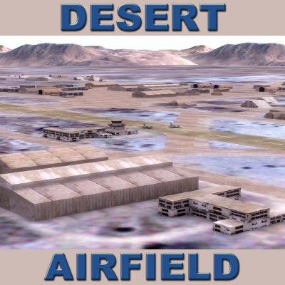 3d model of desert airfield terrain