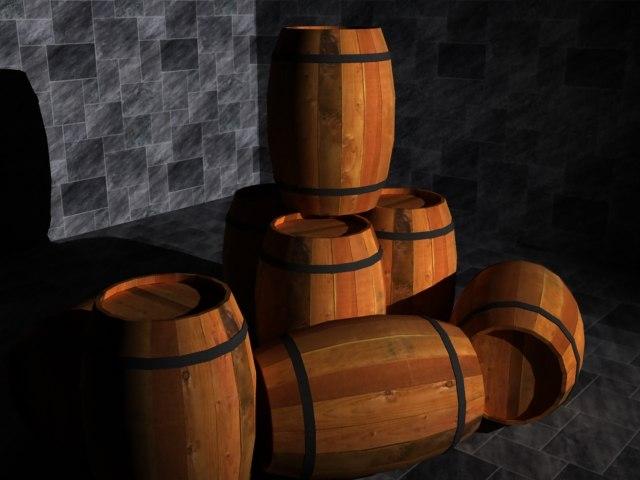 free generic wooden barrel 3d model