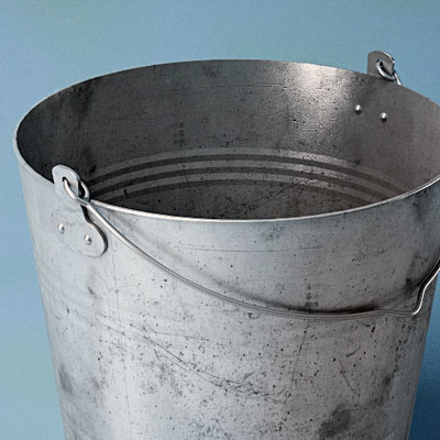 3d galvanized bucket model
