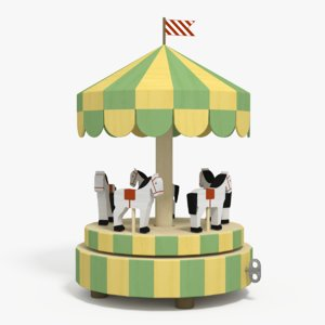 wooden carousel toy 3d max