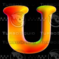 3d organic font letter u