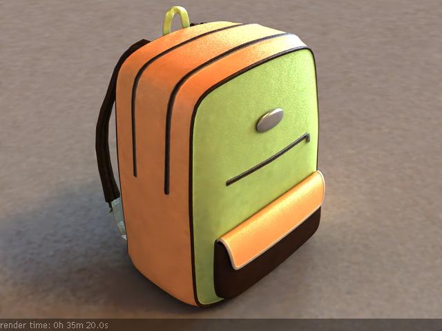 3d 3ds school bag backpack