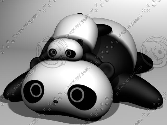 3d sleepy pandas model