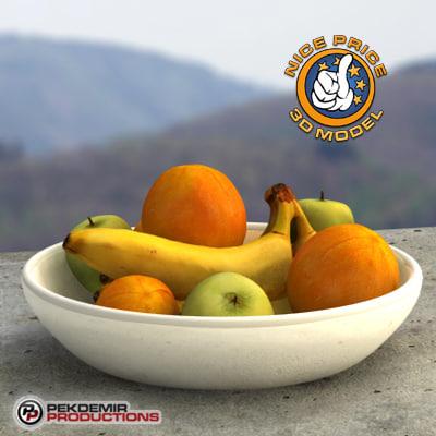 fruit bowl apples oranges 3d max
