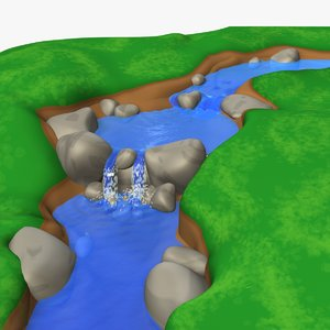river water animation 3d model