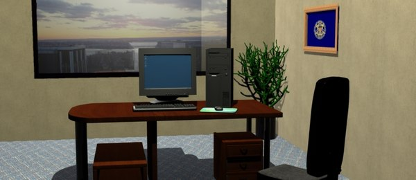 free office computer desk 3d model