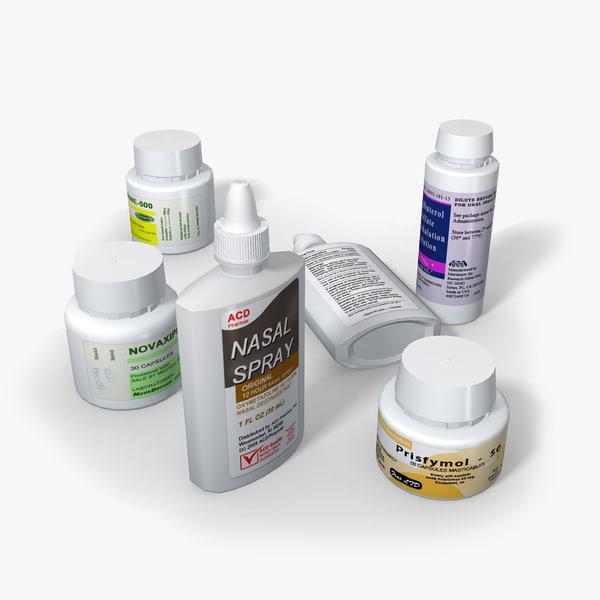 3d model plastic medicine bottles